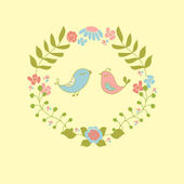 Cute floral wreath and birds couple. — Stock Vector