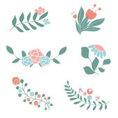 Set of cute floral bouquets and wreaths. — Stock Vector