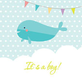 Baby boy shower card with cute whale and flags — Stock Vector