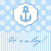 Baby boy shower card with cute anchor — Stock Vector
