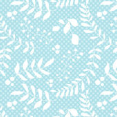 Seamless blue spring pattern from flowers, leaves and seeds — Stock Vector