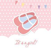 открытка на рождение девочки душ с флагами и милые розовые туфли — Cтоковый вектор
