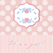 Baby girl shower card with cute floral wreaths — Stock Vector