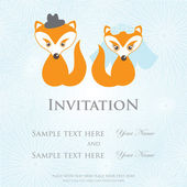 Hand drawn love wedding fox couple on  background — Stock Vector