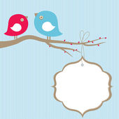Cute beauty  birds on the tree branch — Stock Vector