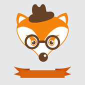 Fox in bowler hat and monocle, vintage style portrait — Stock Vector