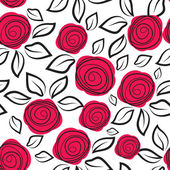 Seamless pattern with rose flowers. — Stock Vector