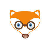 Clever Fox face in eyeglasses. — Stock Vector