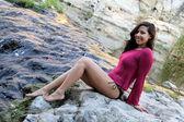 Hispanic Woman Creek — Stock Photo