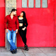 Young Couple Red Doors — Stock Photo