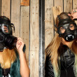 Women with gasmasks — Stock fotografie