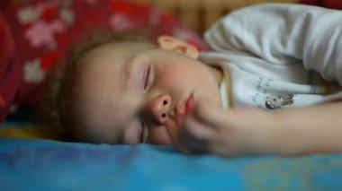 Sleeping little boy — Stock Video