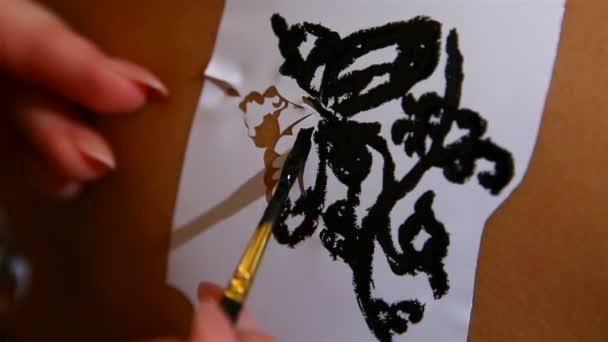 Tatuajes de henna tradicionales indios — Vídeo de stock