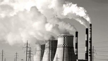 Thermal power plant, smoke, black and white — Stock Video