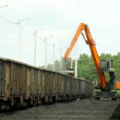 Excavators, unloading coal from a cargo train — Stock Video