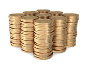 Nine identical stacks of dollar coins — Stock Photo