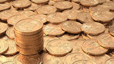 Layer of golden coins with stack of coins with DOF — Stock Photo
