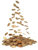 Heap of dollar coins — Stock Photo