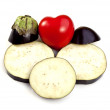Eggplant or Aubergine and the Red Heart — Photo