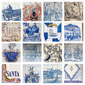 Descriptive Portuguese Tiles Collage — 图库照片