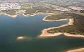 Aerial view over lake — Stock Photo