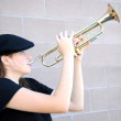 Female jazz trumpet player. — Stock Photo