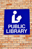 Public library sign. — Stock Photo