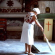 Church sweeper. - Stock Photo