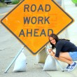 Road work ahead sign. — Foto Stock