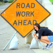 Road work ahead sign. — Stok fotoğraf