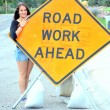 Road work ahead sign. — Stock Photo