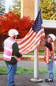Flag raising. — Stock Photo