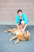 Female beauty and dog. — Stock Photo