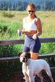 Female and dog. — Stock Photo