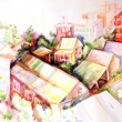 Stock Photo: Rooftops watercolour painting
