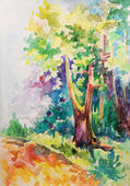 Wood, painted in watercolor — Stock Photo