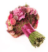 Wedding bouquet with Astrantia, Skimma, Brassica, rose bush, Ran — Stock Photo