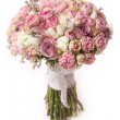 Wedding bouquet with rose bush, Ranunculus asiaticus — Stock Photo