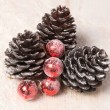 Pine cones and Christmas balls - 图库照片