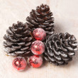 Pine cones and Christmas balls - Stockfoto