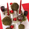 Festive table decoration in white, green and red — Stock Photo
