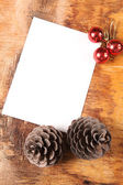 Empty blank, two cones and fur-tree balls — Stock Photo