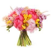 Wedding bouquet with pink peony and yellow tulips — Stock Photo