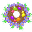 Stock Vector: Easter eggs in the nest