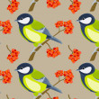 Stock Vector: Tit seamless pattern