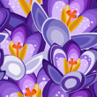 Stock Vector: Crocus flower seamless background