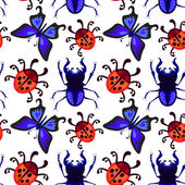 Ladybug, butterfly and beetle seamless pattern — Vecteur