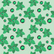 Green flower with emerald seamless pattern — Stock Vector