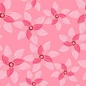Pink flower with gemstone seamless pattern — Stockvector