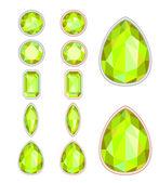 Set di cinque forme di citrino taglio e due tipi di telai (argento — Vettoriale Stock